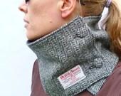 Harris Tweed Neckwarmer - Black/Grey Herringbone Tweed