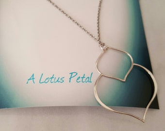 Large lotus petal pendant sterling silver flower necklace inspirational, strength, transformation, special occasion,  meditation,  peace