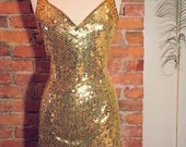 Vintage Golden Goddess Halter Dress