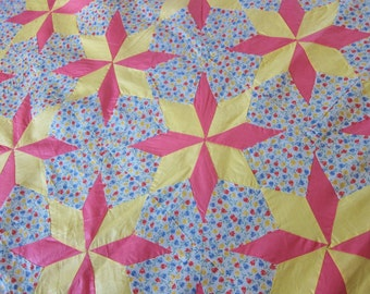 vintage quilt top, STAR quilt top. 1930s quilt top, antique patchwork, pink and yellow, unfinished patchwork, unfinished quilt
