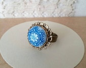 Ornate Floral Ring Vintage Blue and White Czech Glass Cabochon Adjustable  - The Dutchess II.