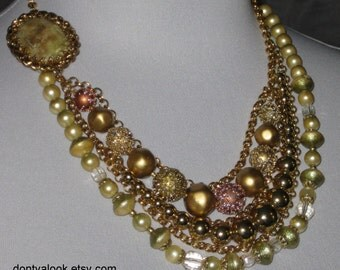 Cream Green and Gold Asymmetrical Multi-Strand Necklace