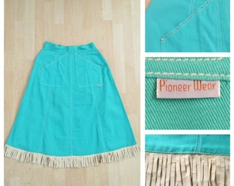 Vintage 1950s Sea Foam Green Studded Pioneer Western Denim Skirt with Fringe S/M