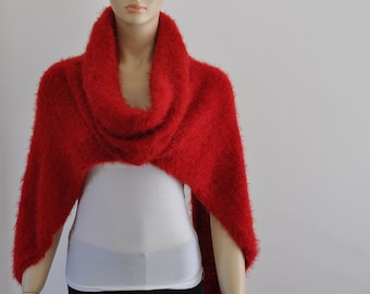 Red Chunky Hooded Scarf, Vest with Cowl, Turtleneck Cowl, Hand Knit, Soft, Cozy