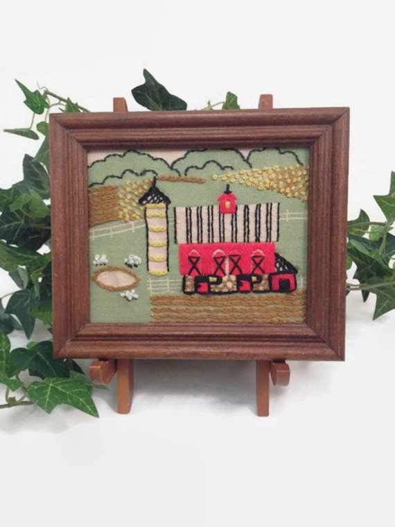 Vintage Framed Embroidery - Farm Scene - Farmhouse Style - Rustic - Red Barn