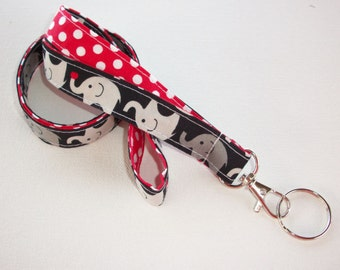 Elephant Fabric Lanyard  ID Badge Holder - Lobster clasp and key ring - two toned double sided