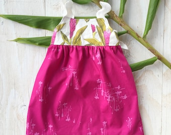 Girl's Dress - Tropical Girl's Dress - Pink Ginger  - Childrens Clothing - made in Maui, Hawaii USA