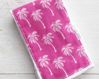 Burp Cloth  for Baby - Pink Palm Trees - Single Burp Cloth  - Boutique  Baby Gift / Layette Set - Made in Maui, Hawaii USA