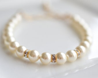Wedding Bracelet Pearl and Crystal Gold Bridal Bracelet Mariah