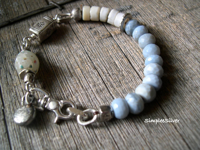 artisan jewelry beaded bracelet sterling silver