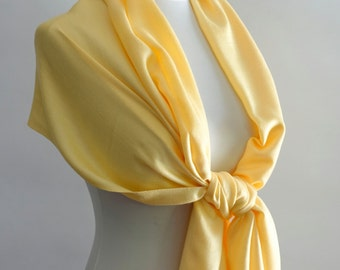 Wedding Pashmina Scarf Pale Yellow Pashmina Bridesmaid Shawl Bridesmaid Gift Idea Wedding Shawl Bridal Accessories or CHOOSE Your Color