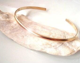 14k Gold Smooth OR Hammered Cuff Bracelet Handmade