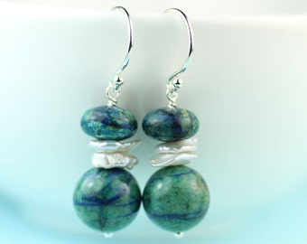 Chrysocolla Keishi pearl dangle earrings silver French hooks by art4ear gift for her under 35 USD free shipping in Canada blue green earings