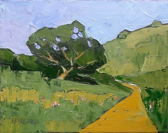 Impressionist Painting California Summer Hills and Oak Plein Air Landscape Oil Original Art Lynne French 11x14