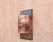 Simple Contemporary Copper and Steel Half Round Light Sconce