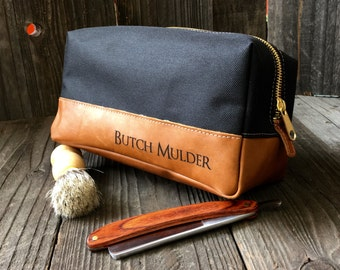 Leather Dopp Kit - Mens Toiletry Bag - Groomsmen Gifts - Canvas Travel Bag - Black / Tan