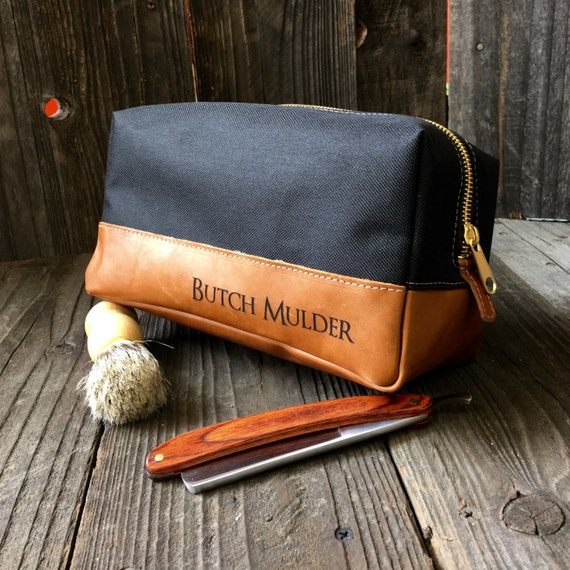 custom leather mens toiletry bag