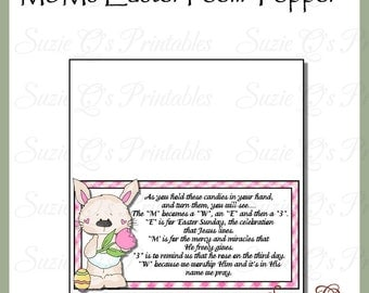 M&Ms Easter Poem Topper - Digital Printable - Immediate Download