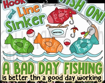 Hook Line and Sinker Clipart Collection - Immediate Download