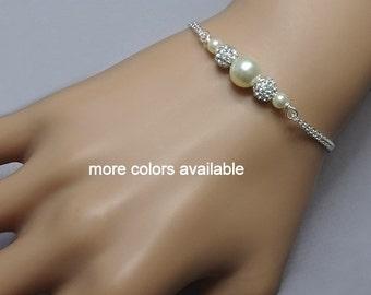 Ivory Pearl Wedding Bracelet, Swarovski Ivory Pearl Bridesmaid Bracelet, Bridesmaid Jewelry, Bridesmaid Gift Bracelet, Wedding Bracelet