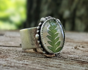 Real Fern Ring - Preserved Green Feather Fern on Birch Bark - Pressed Leaf Silver Adjustable Ring - Nature Jewelry - Rustic Woodland Ring