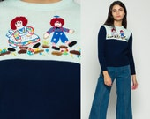 Raggedy Ann Sweater 70s Sweater ANN and ANDY Vintage Novelty Kawaii Embroidered Pullover 1970s Boho Slouch Navy Blue White Small