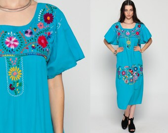 MEXICAN Embroidered Dress Midi Boho TOUCAN BIRD Cotton Tunic 70s Hippie Floral Ethnic 80s Bohemian Vintage Embroidery Blue Extra Large xl