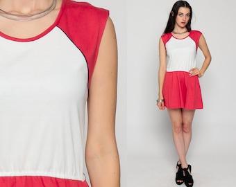 70s Mini Dress Micro COLOR BLOCK Retro 80s Slouchy High Waist Cap Sleeve Bohemian Vintage Red White Summer Boho Ringer Medium