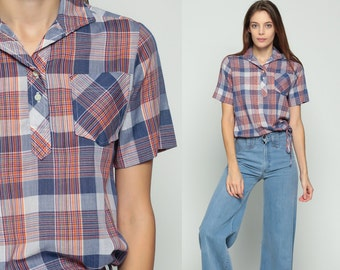 Plaid Blouse 70s Button Up Shirt Checkered Print Boho 1970s Top Polo DRAWSTRING WAIST Short Sleeve Shirt Vintage Blue Red Hipster Medium