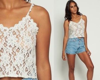 Lace Tank Top 90s Sheer Blouse White Lace Crop Top Boho Grunge Shirt OPEN WEAVE 1990s Cropped Top Sleeveless Vintage Bohemian Extra Small xs