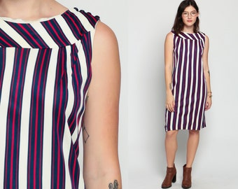 1960s Mod Dress Striped Space Age Shift 60s Mini Red White Blue GOGO Scooter Twiggy Vintage Sleeveless Minidress Tunic Medium