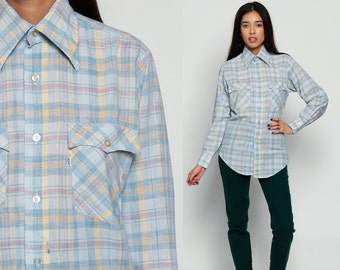 LEVIS Shirt 70s Plaid Cotton Baby Blue Pastel Flannel 1970s Levi Button Down up Grunge Vintage Hipster Checkered Long Sleeve Small