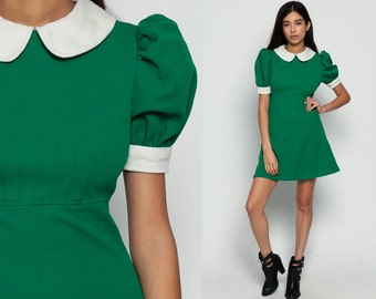60s Babydoll Dress Mod Mini PUFF SLEEVE Peter Pan Collar LOLITA Dolly 1960s Vintage Empire Waist Kelly Green Minidress White Medium