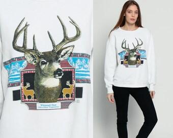 Deer Sweatshirt Animal Sweatshirt 80s Print Jumper Pullover 1980s Hipster Vintage Graphic Print Retro Whitetail Deer Large