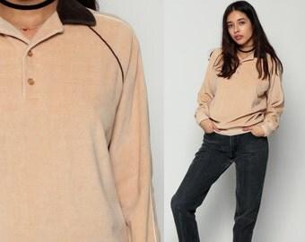 Raglan Sweatshirt Velour Shirt 80s Polo Sweatshirt Long Sleeve Shirt Striped Button Up Grunge Retro Top 70s Boho 1980s Pullover Tan Medium
