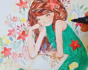 Sale Girl in emerald dress original watercolour painting