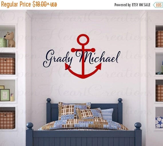 ON SALE Personalized Nautical Vinyl Wall Decal - Monogram Baby Boy or Girl Wall Decal with Boat Anchor IN0040