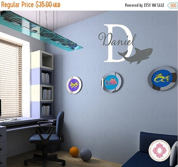 ON SALE Shark Vinyl Decals with Initial and Name Monogram - Baby Nursery Boy Girl Teen Wall Decor 22H x 32W Ina0044