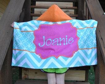 Personalized Hooded Towel, Chevron Aqua, Orange and Hot Pink Beach Pool Bath Towel, Kids Bath Towel, Easter, Christmas, Birthday