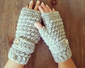 Gray Fingerless gloves, Crochet Gloves, Winter Gloves, Womens fingerless gloves, ready to ship