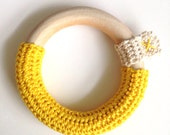 Wooden teether crochet teething ring in yellow