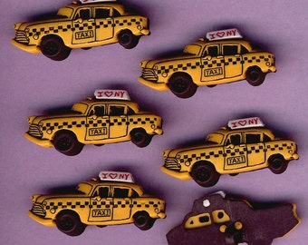 YELLOW TAXI CAB New York United States America Cabbie Driver Dress It Up Buttons