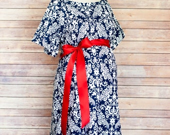 Navy Damask Maternity Hospital Delivery Gown -Super Soft -Perfect Snaps for Breastfeeding, Skin to Skin, and Epidural