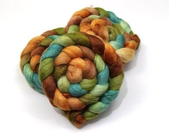 BFL Wool/ Silk (75/25) Roving (Combed Top) - Blue Face Leicester/ Silk - Handpainted Felting or Spinning Fiber