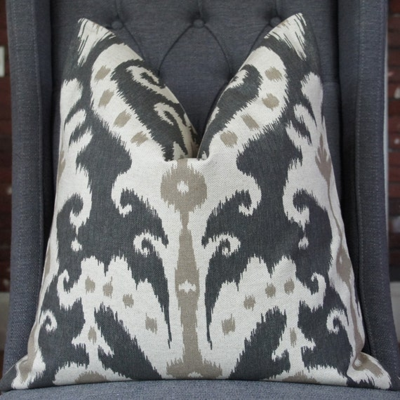 Black Ikat Pillow Cover, Decorative Pillow, Throw Pillow, Designer Fabric, Toss Pillow, Home Furnishing, Home Decor, Pillow Case