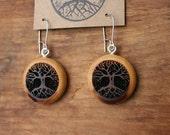 Red Cedar Tree Earrings- Sustainable Wood Jewelry- Oregon Myrtlewood Tree Earrings- Natural Wood Jewelry- Eco Earrings