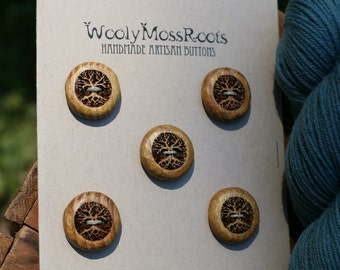 5 Yellow Wood Tree Buttons- Wooden Buttons- Eco Craft Supplies, Eco Knitting Supplies, Eco Sewing Supplies
