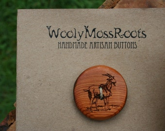 Wood Goat Button- Oregon Yew Wood- Made To Order- Handmade Wooden Buttons- Knitting, Sewing, Craft Buttons