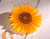 Sparkly Sunflower Brooch - Wearable Art, Shrink Plastic, Coloured Pencil