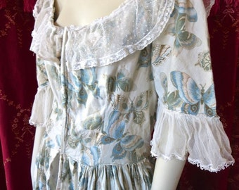 1930s Fancy Dress Halloween Costume Polonaise Gown Butterfly Print Open Front Lace Trim Up To 40 Bust